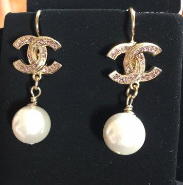 8030828bd CHANEL Pale Pink Crystal Gold Pearl Dangle Earrings Lever Back NIB