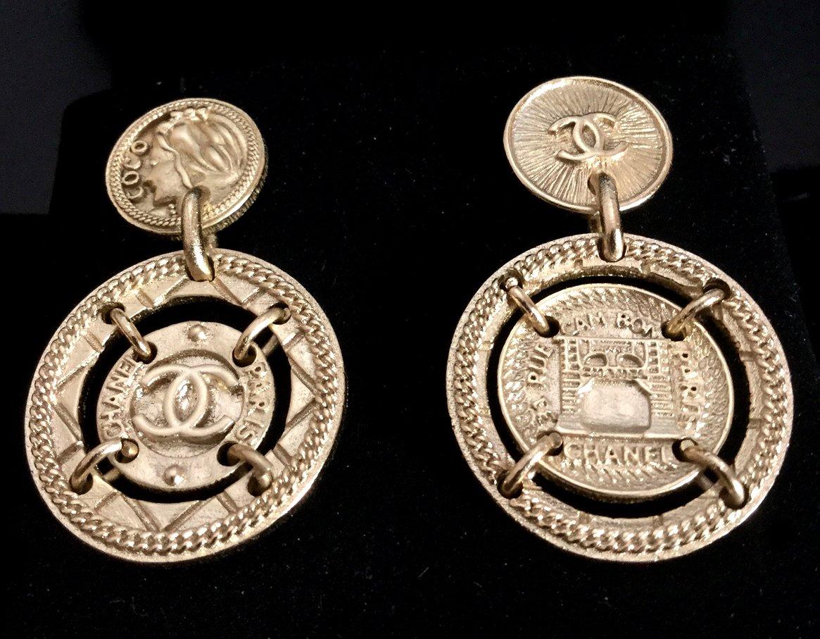 Chanel Cc Byzantine Gold Medal Stud Dangle Earrings