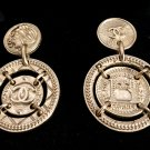 CHANEL CC Byzantine Gold Medal Stud Dangle Earrings Authentic NIB