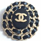 CHANEL CC Gold Chain Brooch Pin Woven Black Leather Oval Medal NIB