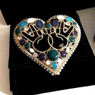 CHANEL CC Gold Fashion Brooch Big Heart Blue Green Jewel Peace Sign