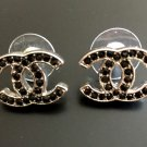 CHANEL CC Silver Stud Black Crystal Small Fashion Earrings Classic NIB