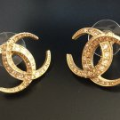 CHANEL Dubai Crescent Moon CC Gold Crystal Stud Earrings Authentic NIB!