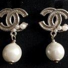 CHANEL Pearl Drop Pale Gold Metal Dangle Earrings HALLMARK Authentic