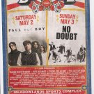 5 Fall Out Boy No Doubt Concert Handbills