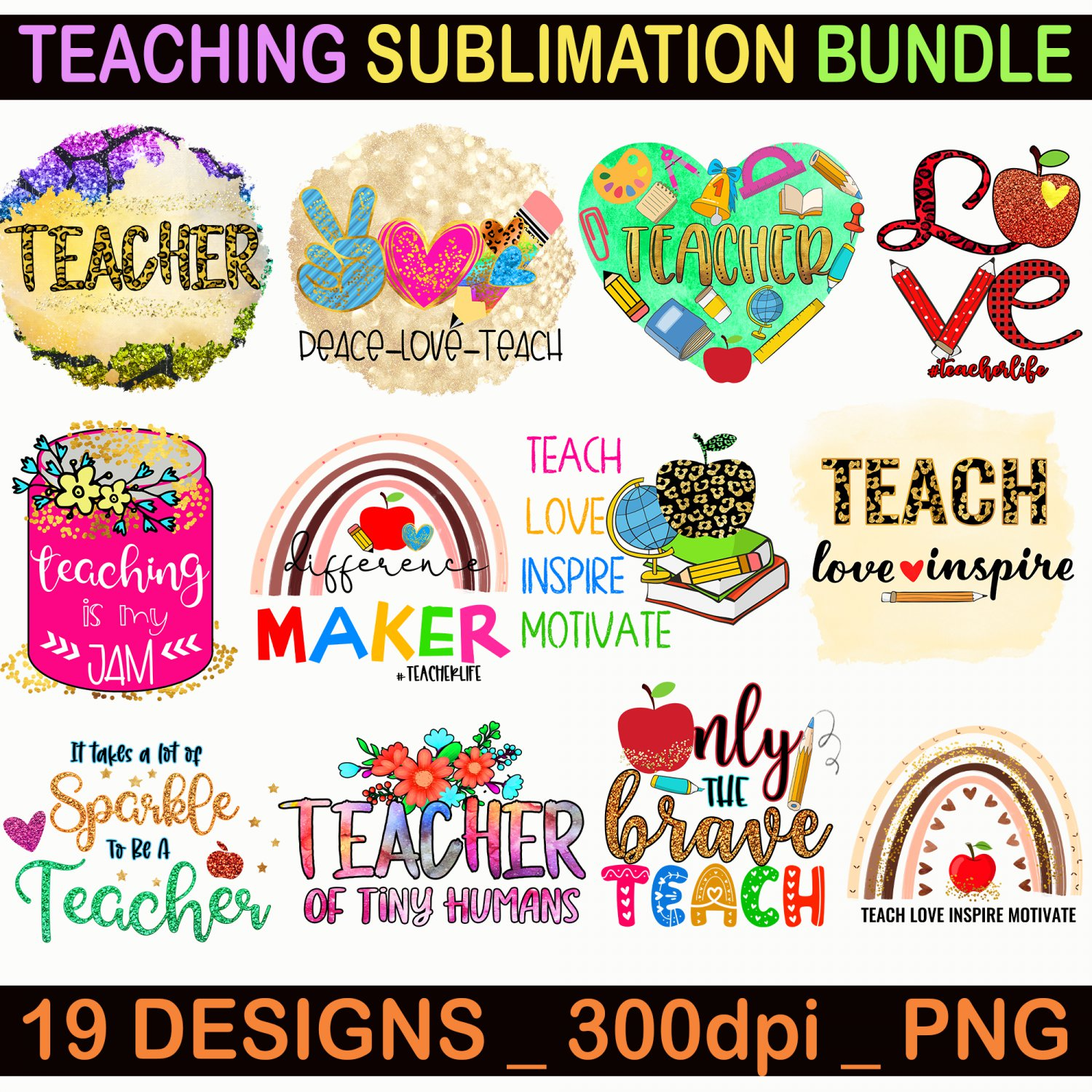 Teaching Sublimation Bundle, Of 19 Print Files for Sublimation Print, Teacher Sublimation PNG