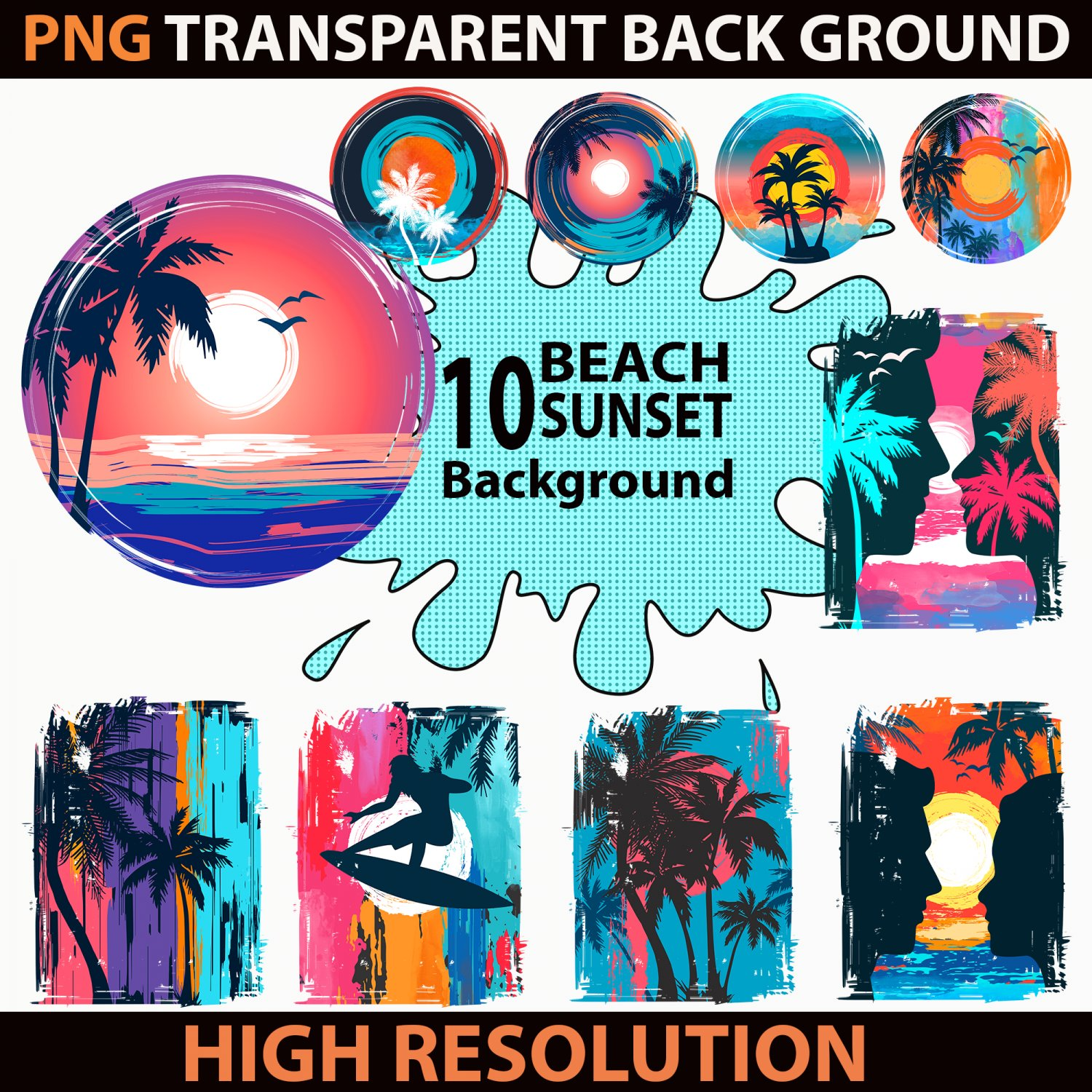 Beach Sunset PNG, Clipart PNG, Colorful Background PNG