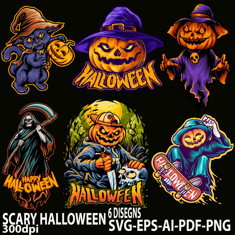 Cat Halloween Scary Pumpkins Zombie EPS,AI,PDF,SVG,PNG
