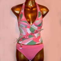 Sexy Pink Print Belted Halter Tankini Size 14