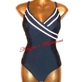 Black + White Cross-Over Tummy Control Swimsuit UK 16. US 14 NEW