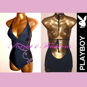 Genuine PLAYBOY Black Backless swimsuit Size UK 12, US 10 NEW