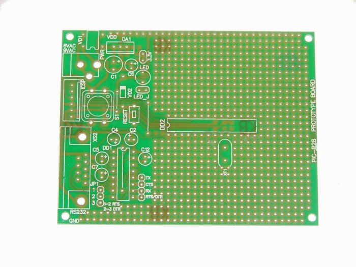PIC Microchip PIC-P28 prototype board - ICD2, PICkit2, JDM...