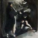 The Spooks 6 - original surrealist drawing - 30x23 cm