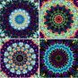 8 Artist Made Kaleidoscope Squares Fabric Prints Original Artwork