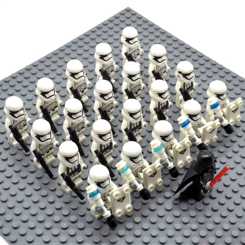 Star Wars White Imperial Stormtroopers with Darth Vader Minifigures China Block Figures Set SW39