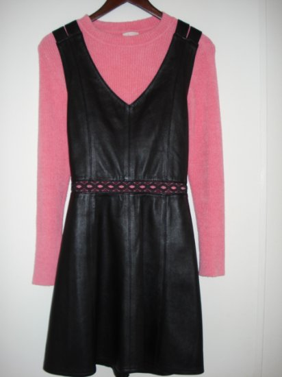 Black Leather Mini Jumper Dress Soft Lambskin size XS