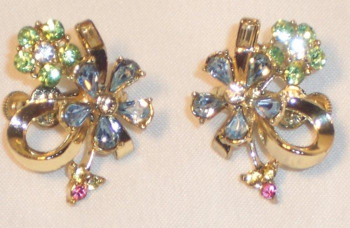 Vintage Coro Gold Tone Colored Rhinestones Flower Clip Earrings
