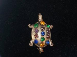 Sterling Silver Figural Turtle Brooch/Pin Colored Rhinestones