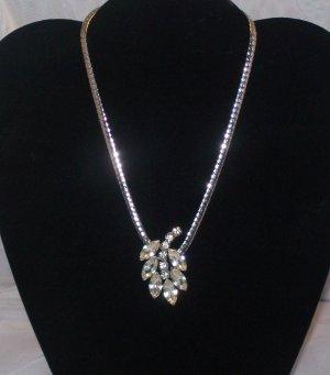 Rare Garne Rhintestone Necklace Rhodium Polished Chain