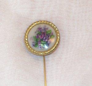 Trifari  Gold-tone Stick/hat Pin purple violets transfer