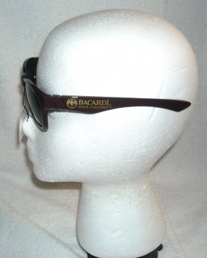 NEW Brown BACARDI ROCK COCONUT Rum Sunglasses w/ Logo Pouch Bag UV 400 NWT
