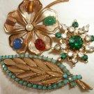Vintage rhinestone Coro pin lot