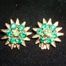 Vintage green rhinestone clip earrings
