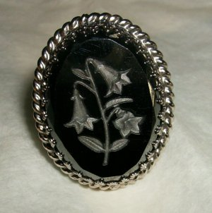 Whiting Davis Hematite carved ring