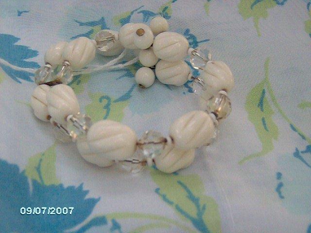 Vintage Memory WIre bead bracelet