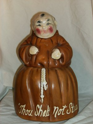 "Monk Cookie Jar "" Though shall not steal"""