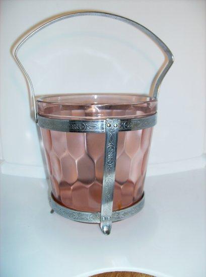 Hex Optic Pink Ice bucket Jeannette Glass