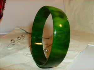 Green bakelite bangle bracelet