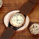 Men's Custom Made Engraved Photo Wooden Watch Brown Leather Strap