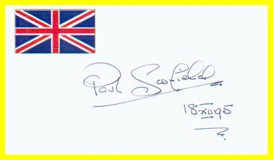 Actor PAUL SCOFIELD Hand Signed Card from 1995
