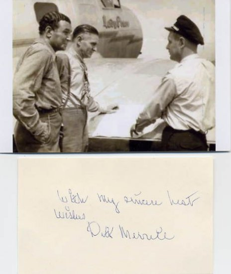 Early Aviation Pioneer DICK MERRILL Hand Signed Card & Pict