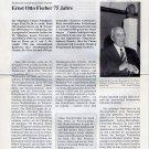 1973 Nobel Chemistry ERNST OTTO FISCHER Hand Signed Article '93