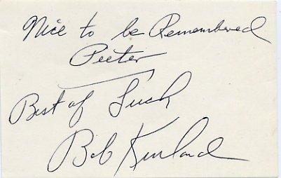 1948-52 Basketball Gold BOB KURLAND Autograph Note Signed 1981