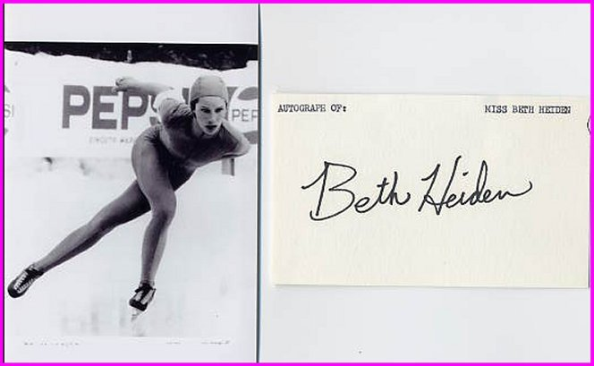 1979 Speed Skating World Champion BETH HEIDEN Signed Card & Pict
