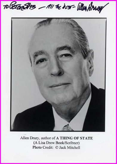 Pulitzer Novelist ALLEN DRURY Hand Signed Photo 5x7