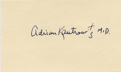 Heart Transplant Pioneer Dr. ADRIAN KANTROWITZ Hand Signed Card 1970s