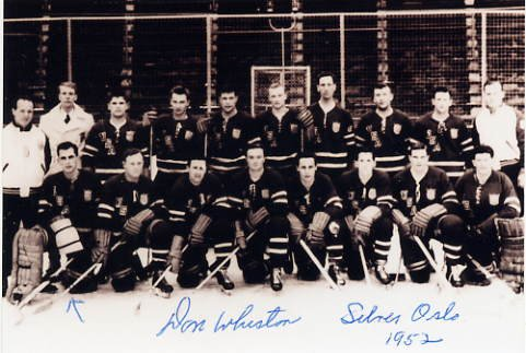 1952 Oslo Ice Hockey Silver DONALD WHISTON Signed Photo