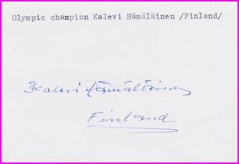 1960 Squaw Valley Nordic Skiing Gold KALEVI HAMALAINEN Autograph