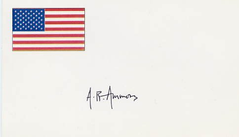 American Author & Poet  A.R. AMMONS Hand Signed Card