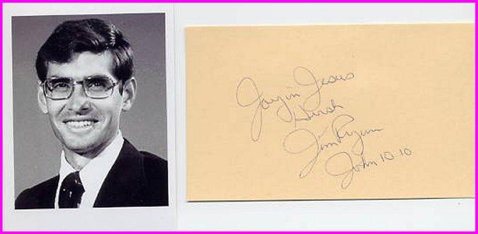Legendary Miler JIM RYUN Hand Signed Card 1970s & Pict