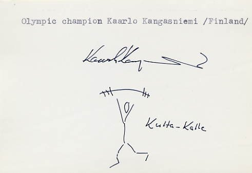 1968 Mexico City Weightlifting Gold KAARLO KANGASNIEMI Signed Sketch