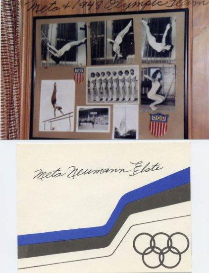 1948 London Gymnastics Bronze META ELSTE Signed Card & Pict