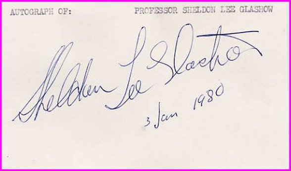 1979 Nobel Physics SHELDON LEE GLASHOW Hand Signed Card 1980