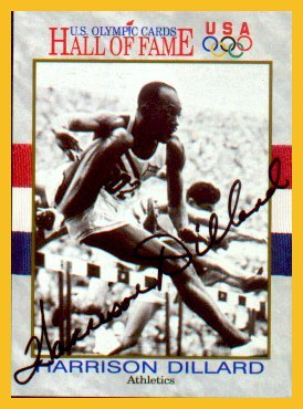 1948-52 Four Gold Medals HARRISON DILLARD Autographed 1991 Olympic Card