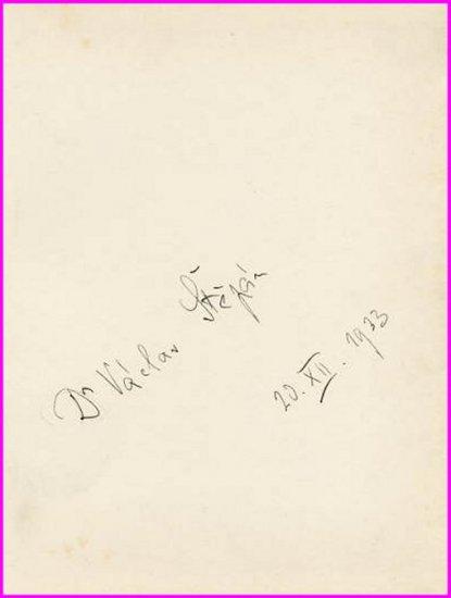 Czech Pianist & Composer VACLAV STEPAN Autograph 1933