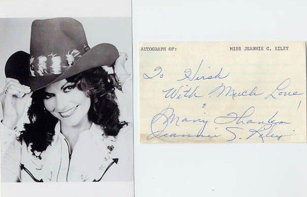 Country Singer JEANNIE C RILEY Autograph 1971 & Pict